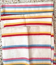 Long 4 Linen Vintage Soviet Dish Hand Towels Striped Set 20 X 46 Never Used