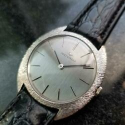 Mens Movado 35mm 18k White Gold Hand-wind Dress Watch C.1960s Vintage Ma144