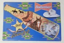 Budweiser Tin Sign Alcohol Beer Man Cave Rodeo Round Up Retro Metal Signs Plaque