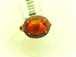 Fabulous Ladies Ring 2.82carat Mexican Fire Opal And Diamond 14k Rose Size 7.25
