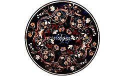 36 Black Marble Round Dining Table Top Multi Floral Inlay Christmas Decor B569