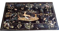 4and039x3and039 Marble Dining Table Top Precious Animal With Floral Birds Inlay Decor B600
