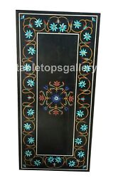 4and039x2and039 Marble Dining Table Tops Turquoise Floral Inlay Furniture Arts Decor B621