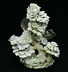 13.6 Chinese Natural Dushan Jade Carving Blossom Flower Birds Branch Art Statue
