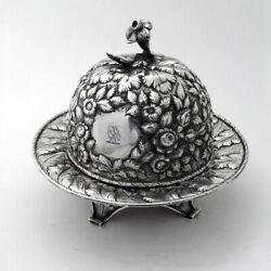 Repousse Domed Butter Dish 11 Oz Coin Silver Kirk Son 1870 Eagle Crest