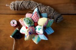 Huge 7 Handcrafted Vintage Multi Point Star Patchwork Crazy Quilt Pincushion