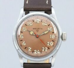 Helbros Brevet Original Copper Dial Manual Winding Vintage Watch 1950and039s