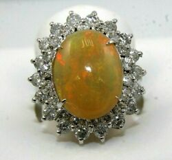 Natural Oval Fire Opal And Diamond Halo Solitaire Ring 14k White Gold 6.10ct