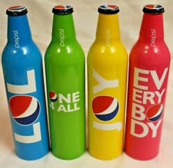 2009 Lot Of 4 16 Ounce Pepsi Aluminum Bottles Colorful. Joy, Lol, Everybody More