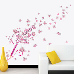 PVC Butterfly Flower Wall Stickers For Girls Bedroom Removable Wall Decor 1PCS