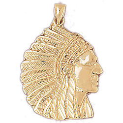 New 14k Yellow Gold Native American Indian Chief Head Dress Charm Pendant