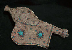 17.2 Old Tibet Nepal Filigree Gilt Inlay Turquoise Gem Conch Shell Trumpet Horn