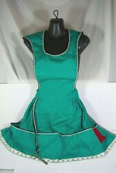 Vintage Mcm Teal Retro Full Length Apron Pockets Embroidery Sewing Scissors