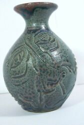 Vintage Painted Pottery Studio Art Vase Man Face Abstract Figures