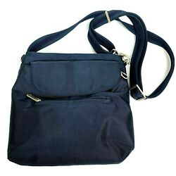 Travelon Anti Theft Blue Crossbody Women#x27;s Travel Purse Multi Pocket Organizer $19.95