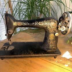 1913 Singer 66 Red Eye Sewing Machine Sn G275227 Rusted For Decor Or Repair