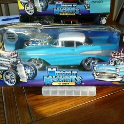 Muscle Machines Turquoise And White '57 Chevy Bel Air 1/18 Bmm005
