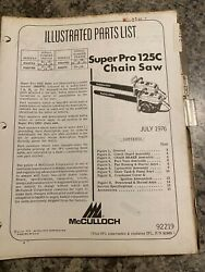 Mcculloch Illustrated Parts List Super Pro 125c Chainsaw Models 600076... H4