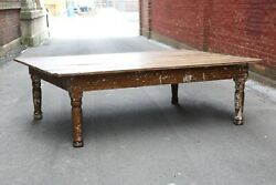 Vintage Harvest Table, 7ft Farm House Coffee Table, Wood Legs Counter Dining Old