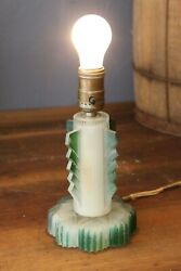 Antique Vintage Art Deco Table Top Glass Lamp Green No Shade Desk Lamp Old