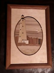 Hudson River Inlay Marquetry Wooden Sandy Hook Nj Lighthouse Picture Signed 95