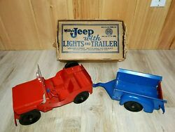 Nice Marx Willys Jeep With Lights And Trailer, Vintage 1950's Original Box