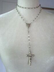 Beautiful Vintage Crystal Clear Creed Sterling Rosary Crucifix