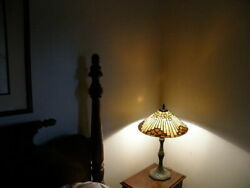 Vintage Handel / Style Lamp With Leaded Stained Glass Shade Root Beer