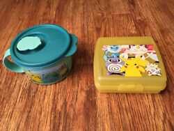 Pokemon Tupperware Container Lot Pikachu Sandwich Keeper, Squirtle Soup Mug