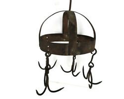 Antique Hanging Butcher Rack Cast Wrought Iron 4 Hooks French 18th C Barn Style