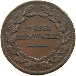 France 10 Centimes 1839 Londres Tin Pattern Presse Monetaire 30mm 16.9g T79 129