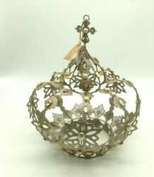 Glitterville Studios Gold Jeweled Large Crown Tree Topper Anthropologie New