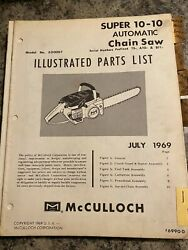 Mcculloch Illustrated Parts List Super 10-10 Automatic Chainsaw Model600007 H4