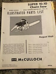 Mcculloch Illustrated Parts List Super 10-10 Chainsaw 1969 Model 600005 H4