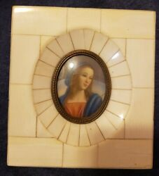 Antique Miniature Handpainted Signed Portrait Virgin Mary Holy Mother Madonna