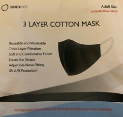 100-face Mask Tri-layer Inner-middle-outer-black-unisex-adult-reusable-washable