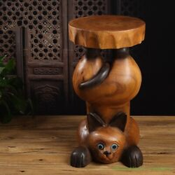 Hand Carved Wood Bear / Kitty Shapes Stool Flower Pot Holder Plant Stand 2665