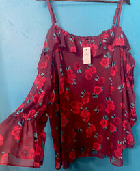 Lane Bryant Size 26 Red Floral Cold Shoulder Women's Blouse $14.60