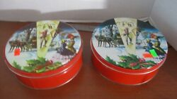 Vintagelot Of 2deluxe Fruit Cake Empty Western Christmas Tins