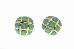 Kabana Opal Inlay Large Dome Button Stud 14k 585 Yellow Gold Pair Of Earrings