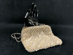 Vintage Micro Hong Kong Cream And Pearl Beaded Evening Clutch