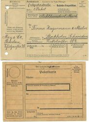 German Empire 2 Stationary Parcels Certificates Wwi One To Sweden 1916