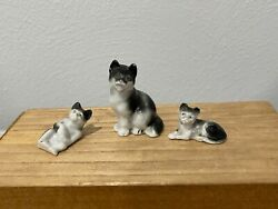 Vintage Antique German Porcelain Lot Of 3 Kitty Cats Mother And Kittens Figurines