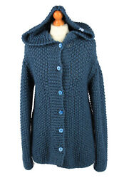 Womens Cable Knit Cardigan Chunky Button Up 90s Retro Navy M-il2137