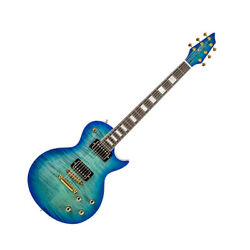 Sean Single Cut Trans Blue Flamed Maple Mahogany Set In Neck Hh Gold Hardware