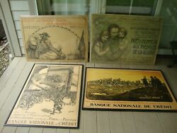Spcl Deal Exceptional Set Of 4 Rare Antique Wwi Posters France  1917 / 1918