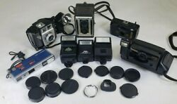 Lot Of 5 Vintage Antique Cameras And Accessories 11 Random Caps, 3 Flashes