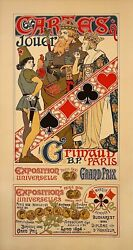 Original Cartes A Jouer Playing Cards Poster By Quenioux 1900 Universal Expo.