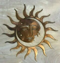Sun and Moon Wall Metal Art Hanging with Rustic Copper Finish