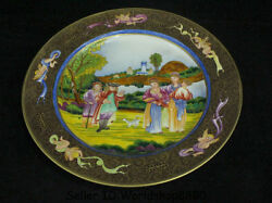 10 Marked Old China Qing Colour Enamels Porcelain Gilt People Dragon Plate Tray